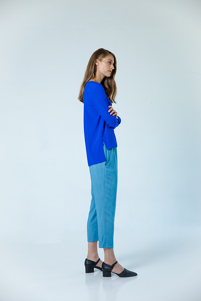 Mayfair silk shirt electric blue Amsterdam lyocell trousers blue